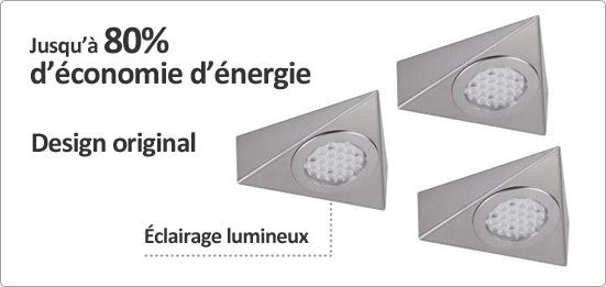 Luisina kit 3 spots triangle led achat vente luisina for Eclairage plan de travail cuisine