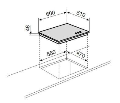 Table verre gaz 3 foyers 60 cm noire GLEM - GV635HBK
