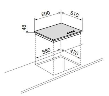 Table verre mixte 3+1 60 cm noire GLEM - GV647BK
