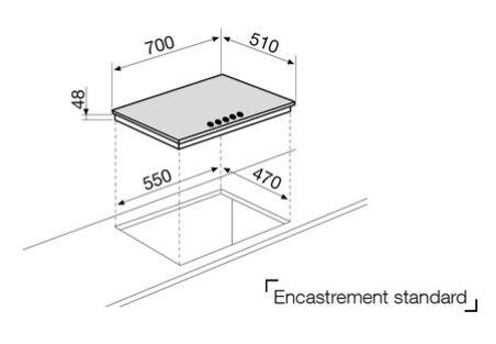 Table verre gaz 5 foyers 70 cm noire GLEM - GV755HBK
