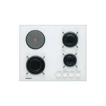 Table verre mixte 3+1 60 cm blanche GLEM - GV647WH