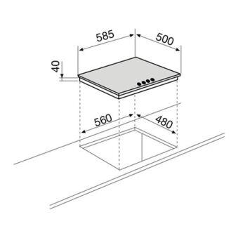Table électrique 4 foyers 60 cm émaillée blanche GLEM - GTL640WH