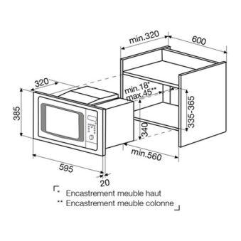 Micro-ondes gril intégrable meuble haut inox GLEM - GMI203IX