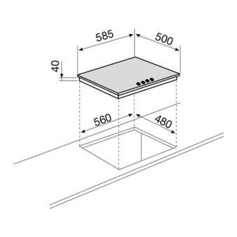 Table gaz 4 foyers 60 cm émaillée blanche GLEM - GTL64WH