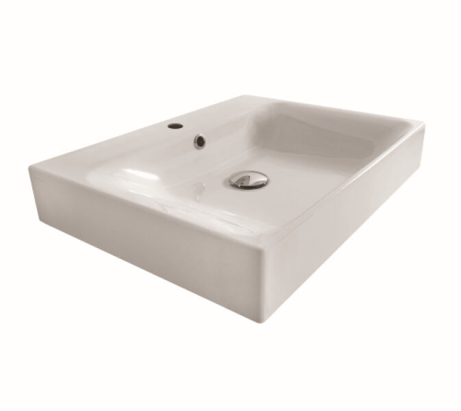 Vasques c ramique lavabo ceramique cento a poser ou a suspendre 70 45 cm bla - Lavabo ceramique blanc ...