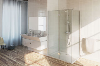 LUISINA - Sirli - Porte de douche pivotante + paroi fixe pour solution d'angle Sirli 800 mm