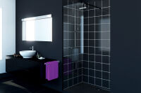 LUISINA - Easy Black - Paroi de douche fixe Easy Black 900 mm