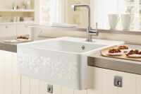 Villeroy & Boch - Tradition - Evier à poser Villeroy & Boch 1 grand bac coloris White Pearl Décor