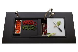 LUISINA - Luisidiam - Lounge - Evier à encastrer Luisina 1 grand bac, 1 vide-sauce, 1 égouttoir coloris Puro