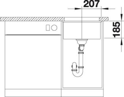 EVIER BLANCO SUBLINE 375-U PURA+ BLANC CRISTAL MANU INF
