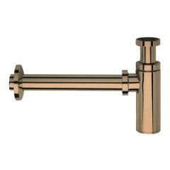 Siphon lavabo droit luxe laiton design 35 cm or rose brosse VIDAGES - MS3434