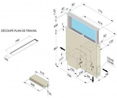 Luisina airone hyp rion hotte plan de travail airone - Plan de travail 80 cm largeur ...