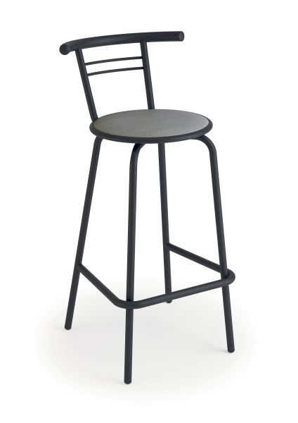luisina jack tabouret 66 5 cm avec assise vinyle gris trafic et pi tement m tal graphite. Black Bedroom Furniture Sets. Home Design Ideas