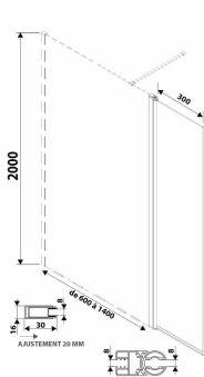 LUISINA - Easyflex+30 - Paroi de douche fixe Easy 1000 mm et volet flexible 300 mm