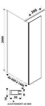 LUISINA - Easy+45 - Paroi de douche fixe Easy 1000 mm et volet fixe 450 mm