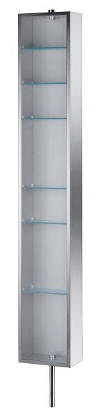 Armoire colonne pivotante inox miroir 6 etageres verre for Colonne salle de bains pas cher