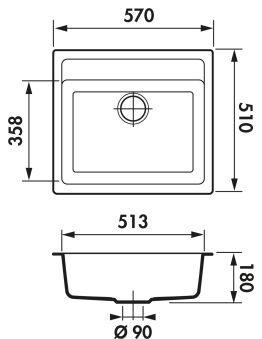 LUISINA - Luisigranit - EV1000 - Cuve à encastrer Luisina 1 bac coloris Croma