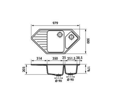 Évier d'angle Luisina Lava 979X500