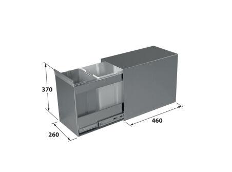 LUISINA - Inox Duo - Poubelle tri sélectif 2 bacs 10 et 16 litres