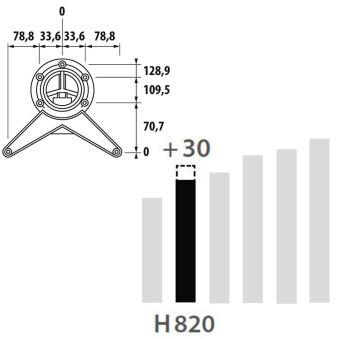LUISINA - Pied de table rond en acier chromé H 820 mm - Ø60 mm