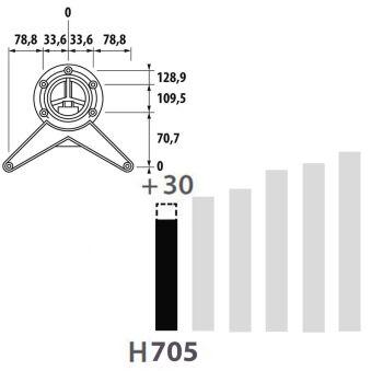 LUISINA - Pied de table rond en acier chromé H 700 mm - Ø80 mm