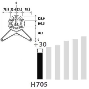 LUISINA - Pied de table rond en inox poli H 700 mm - Ø80 mm