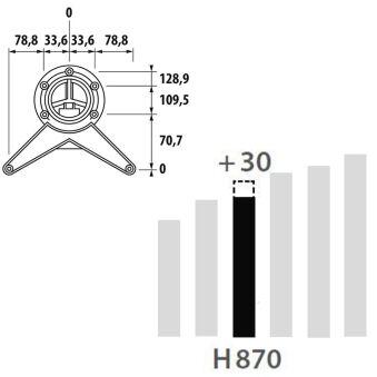 LUISINA - Pied de table rond en acier chromé H 870 mm - Ø80 mm