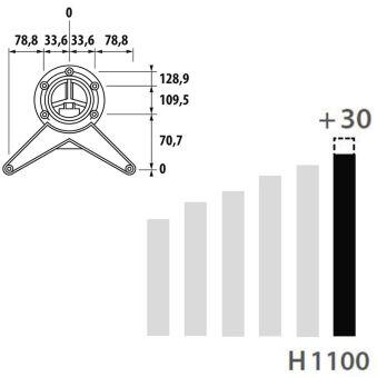 LUISINA - Pied de table rond en acier chromé H 1100 mm - Ø80 mm
