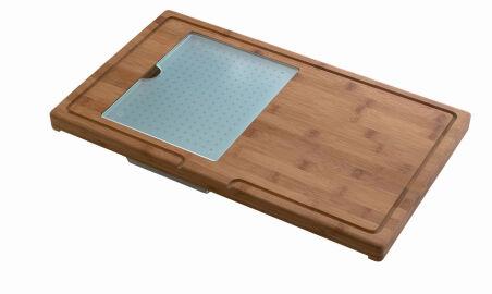 Luisina - Planche en bambou multifonction avec vide-sauce et planche en verre