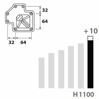 LUISINA - Pied de table carré en acier chromé H 1100 mm - 60 x 60 mm