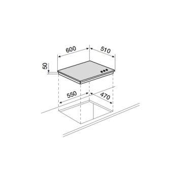 Table verre gaz 60 cm AIRLUX - AV635HBK