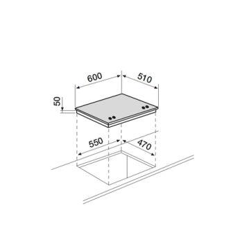 Table verre gaz 60 cm AIRLUX - AV685HBK